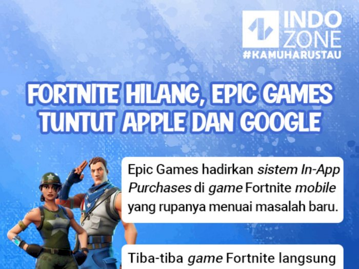 Fortnite Hilang, Epic Games Tuntut Apple dan Google