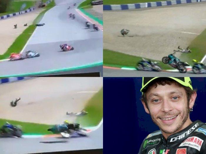 Heboh Dua Pembalap MotoGP Austria Kecelakaan, Nyawa Valentino Rossi Nyaris Melayang