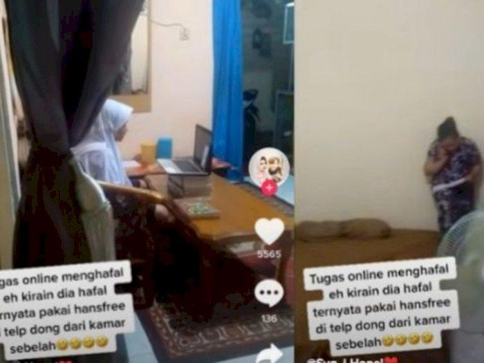 Ngakak, Ibu Ini Bantu Anaknya Setor Hafalan saat Belajar Online Sampai 'Nempel' di Dinding