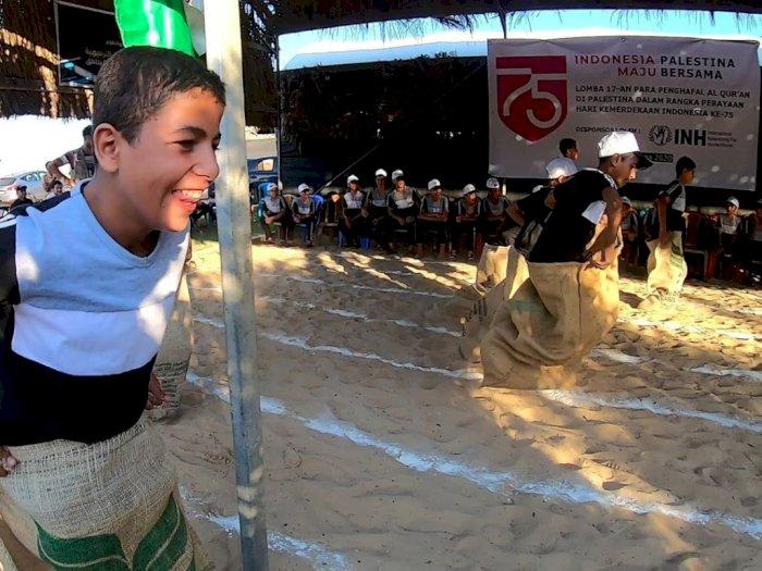Potret Saat Anak-anak Palestina Ikut Lomba 17-an Merayakan Kemerdekaan Indonesia