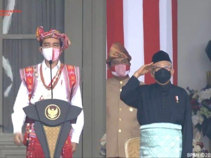 Upacara HUT RI ke-75: Jokowi Kenakan Baju Adat NTT, Ma'ruf Amin Adat Melayu