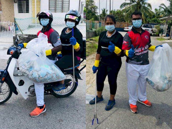 Salut! Kakak Beradik ini Bersihkan Sampah Masker Yang Mengotori Jalanan