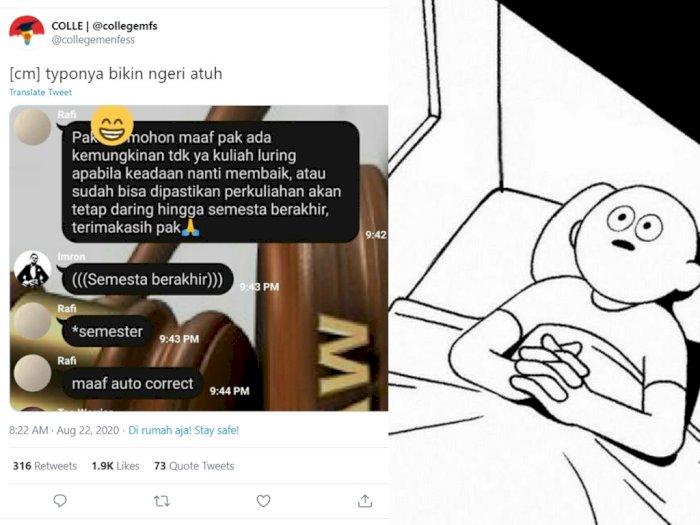Mau Ngetik 'Semester' Malah Jadi 'Semesta', Chat Mahasiswa ke Dosennya Ini Bikin Ngeri