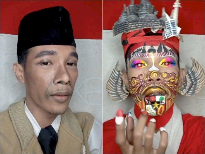 Aksi Pria Make up Bertema Ikon Indonesia, Tampilkan Monas hingga Candi Borobudur