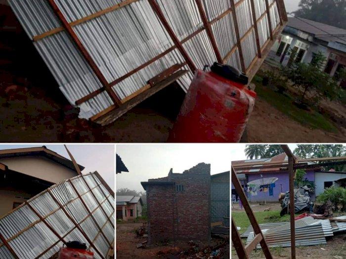 Hujan Disertai Angin Kencang Landa Labuhan Batu Utara, Atap Rumah Warga Beterbangan