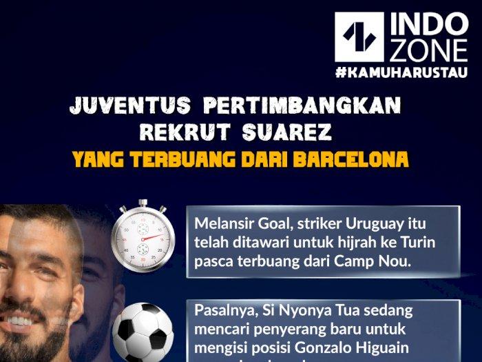 Juventus Pertimbangkan Rekrut Suarez yang Terbuang dari Barcelona