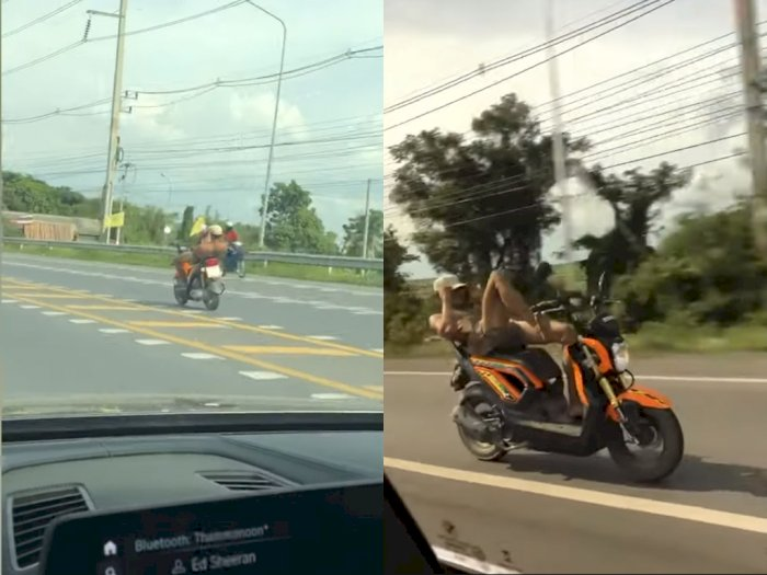 Duh! Pria ini Nekat Bawa Motor Kencang Pakai Kaki, Bikin Netizen Deg-degan