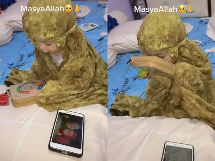Bayi Lucu ini Lebih Pilih Al Quran Dibanding HP, Netizen Malu Sendiri