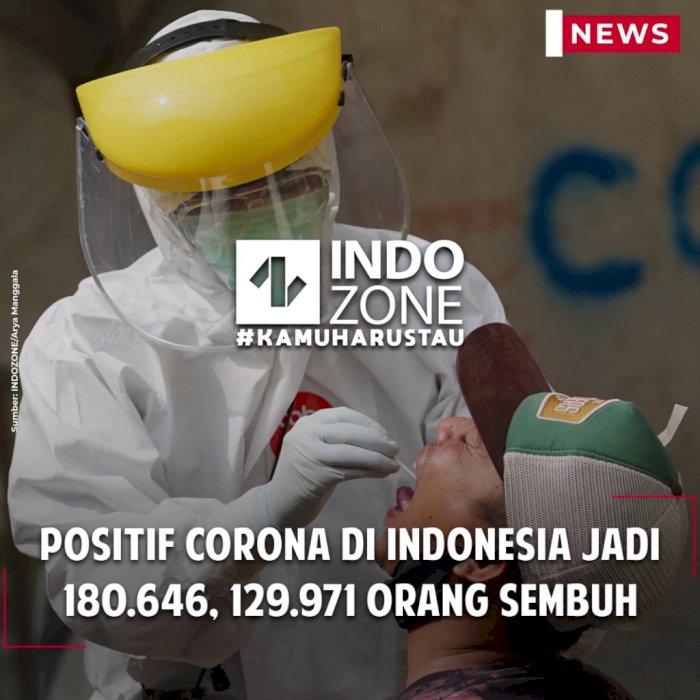 Positif Corona di Indonesia Jadi 180.646, 129.971 Orang Sembuh