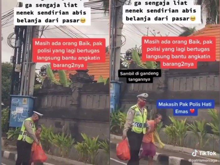 Polisi ini Bantu Seorang nenek di Jalan Sambil Bawa Barang Belanjaannya, Netizen Terharu