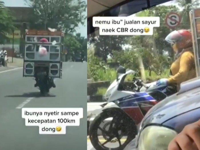 Viral Emak-Emak Penjual Sayur Naik CBR Ngebut Sampai 100 Km/Jam