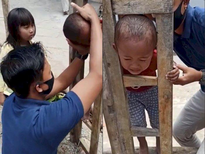 Kepala Bocah ini Tersangkut di Pagar Saat Sedang Asik Main, Netizen: Kok Bisa?