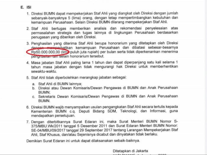 Beredar Surat Edaran Gaji Staf Ahli BUMN Capai Rp50 Juta per Bulan