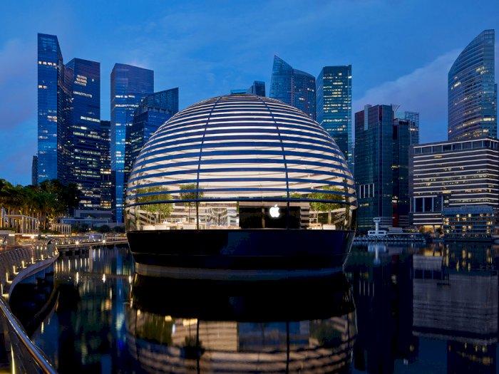 Resmi Dibuka, Seperti Ini Penampakan Apple Store Apung di Singapura!