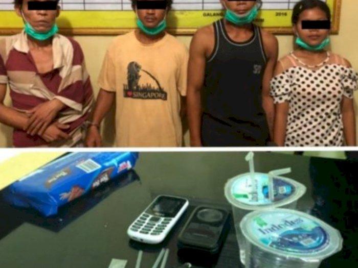 Tengah Asyik Nyabu di Rumah, Komplotan Tiga Pria bersama Seorang Wanita Diciduk Polisi
