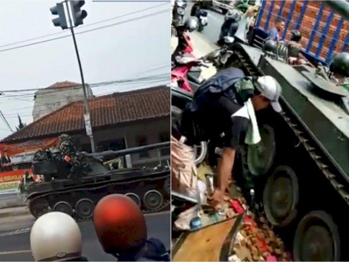 Tank TNI Hilang Kendali saat Berbelok di Cipatat, Tabrak Gerobak Tahu Goreng