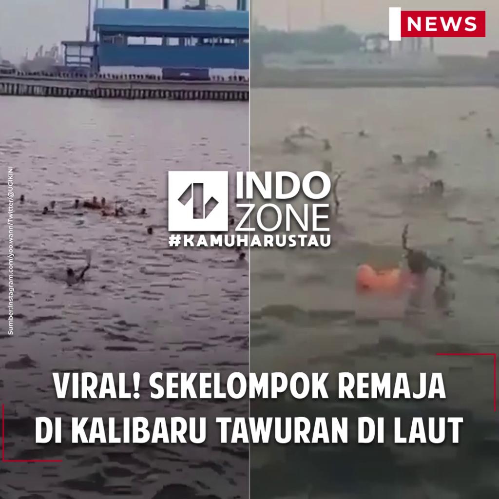 Viral! Sekelompok Remaja di Kalibaru Tawuran di Laut