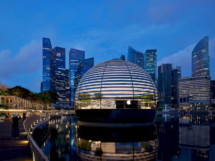 Wah! Apple Buka Toko Terapung Cantik di Marina Bay Singapura