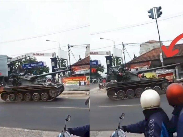 Viral Tank Tempur Lepas Kendali Tabrak Gerobak dan Motor di Bandung, TNI Tanggung Jawab