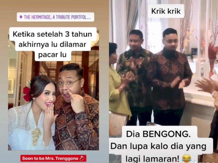 Momen Lucu Saat Kekasihnya Malah Bengong Saat Lamaran, Netizen: Kebiasaan Nganterin Orang