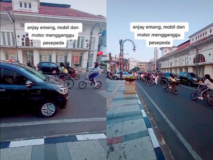 Duh! Sekelompok Wanita ini Nekat Lawan Arah Saat Bersepeda, Bikin Netizen Geram