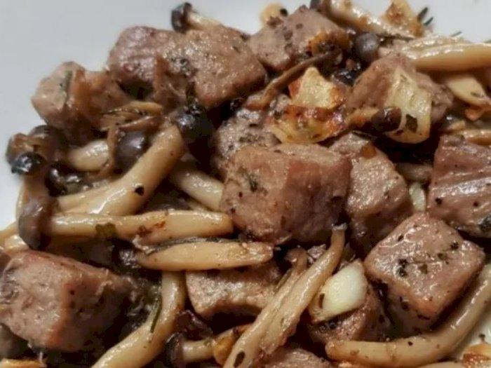 Resep Sederhana Tumis Daging Saikoro Jamur Shimeji