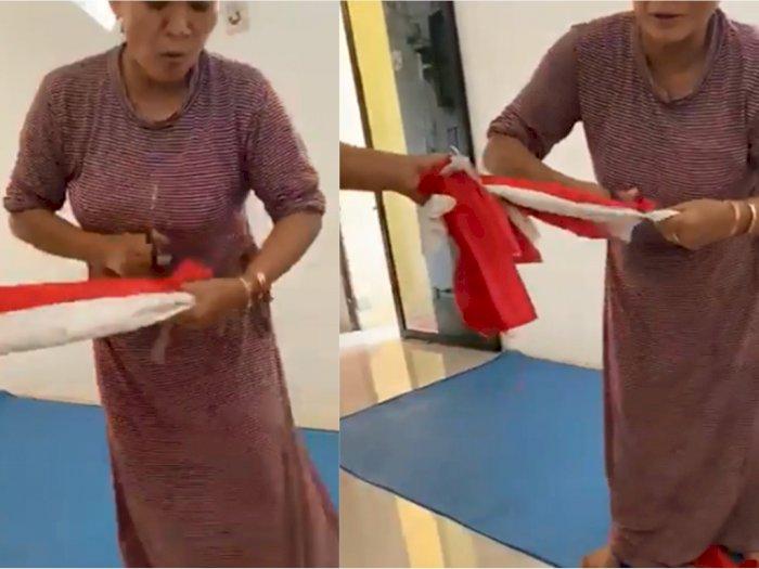 Viral Emak-emak Gunting Bendera Merah Putih Sambil Tertawa Kegirangan