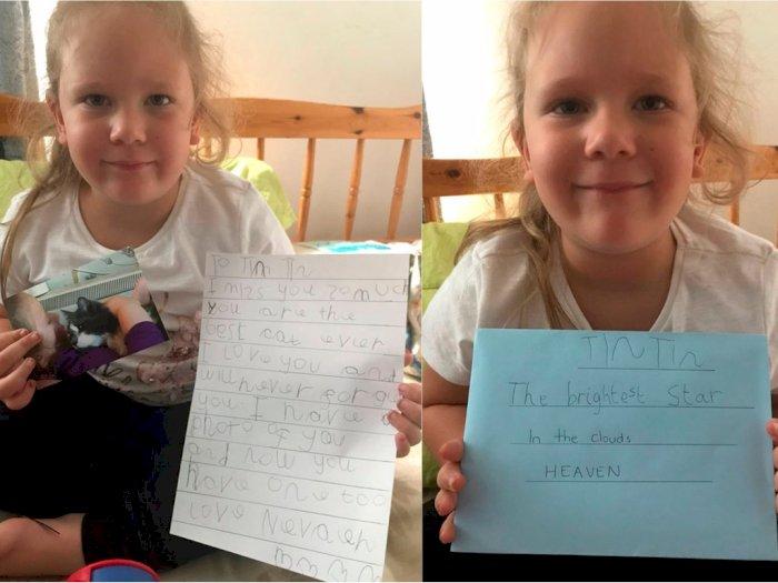 Gadis Kecil Ini Tulis Surat untuk Kucingnya di 'Surga', Dapat Balasan Mengharukan