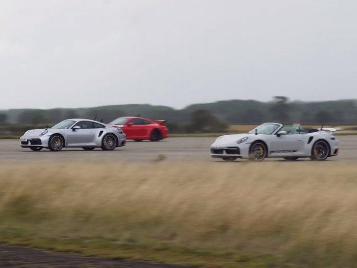 Melihat Drag Race Antara Mobil Porsche 911 Turbo S, Cabriolet, dan 911 GT3!