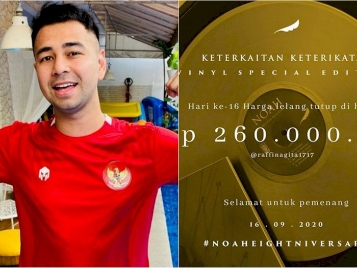 Raffi Ahmad Menangkan Lelang Vinyl Emas Milik NOAH Senilai Rp260 Juta