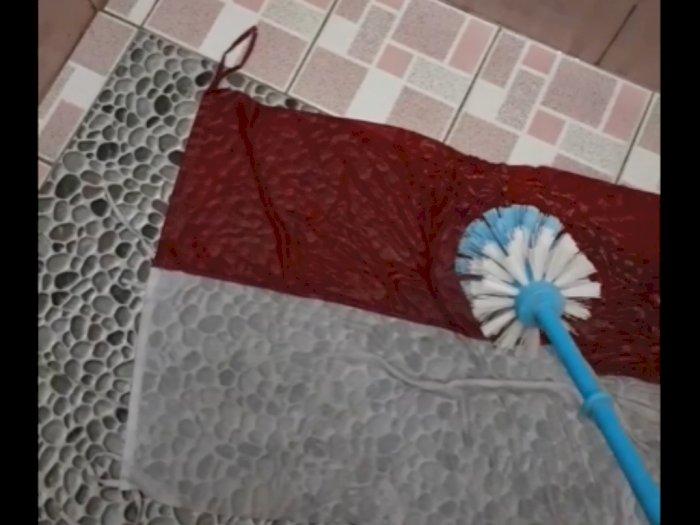Beredar Video Bendera Merah Putih Dicuci Pakai Sikat Toilet, Netizen Geram