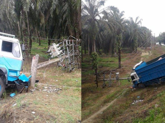 Sebuah Truk di Labuhanbatu Utara Tabrak Gardu PLN, Listrik di Aek Kota Batu Pun Jadi Padam