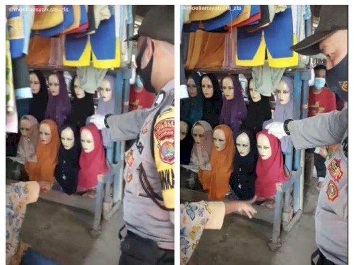 Aksi Kocak Petugas Polisi Suruh Manekin Push Up Gegara Tak Pakai Masker, Lah Kok Bisa?