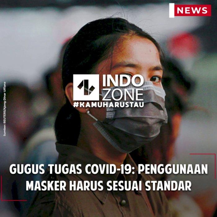Gugus Tugas COVID-19: Penggunaan Masker Harus Sesuai Standar