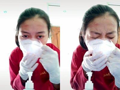 Video Petugas Medis Kesakitan Saat Lepaskan Masker yang Menempel, Bikin Netizen Sedih