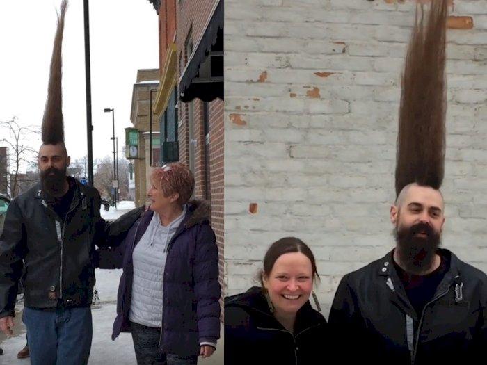 Punya Rambut Mohawk Setinggi 1,08 Meter, Lelaki Ini Pecahkan Rekor Guinness World Records