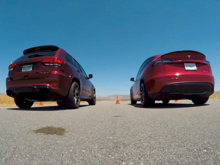 Melihat Pertarungan Jeep Trackhawk dan Tesla Model Y dalam Drag Race!
