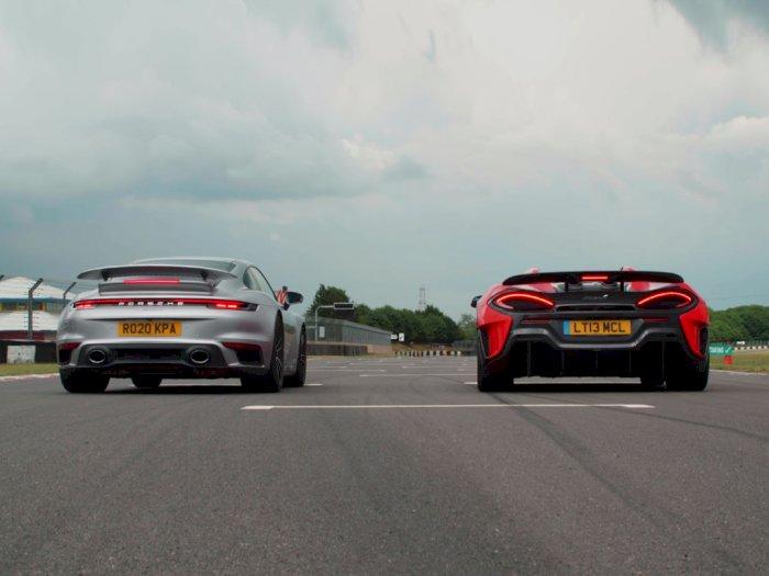 Melihat Drag Race Antara Mobil Porsche 911 Turbo S dengan McLaren 600LT