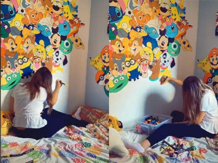 Cewek ini Coret Dinding Gambar Kartun Saat Isi Waktu di Kamar, Netizen: Gabut Berfaedah
