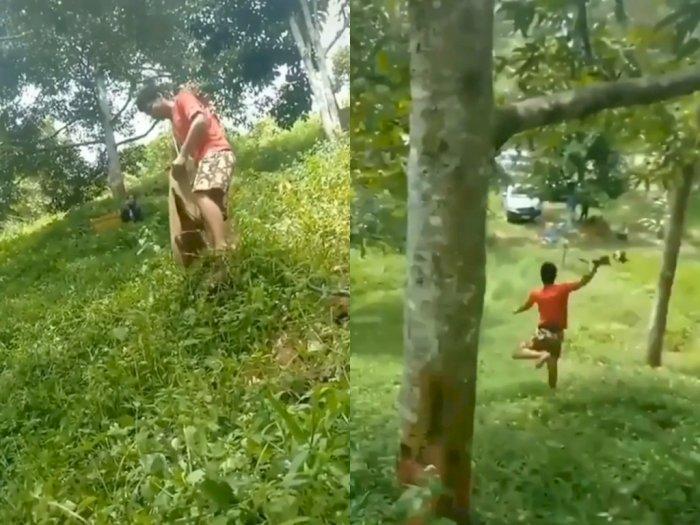 Niatnya Mau Tangkap Durian, Pria ini  Malah Terperosok Sampai Ke Bawah, Netizen Ngakak