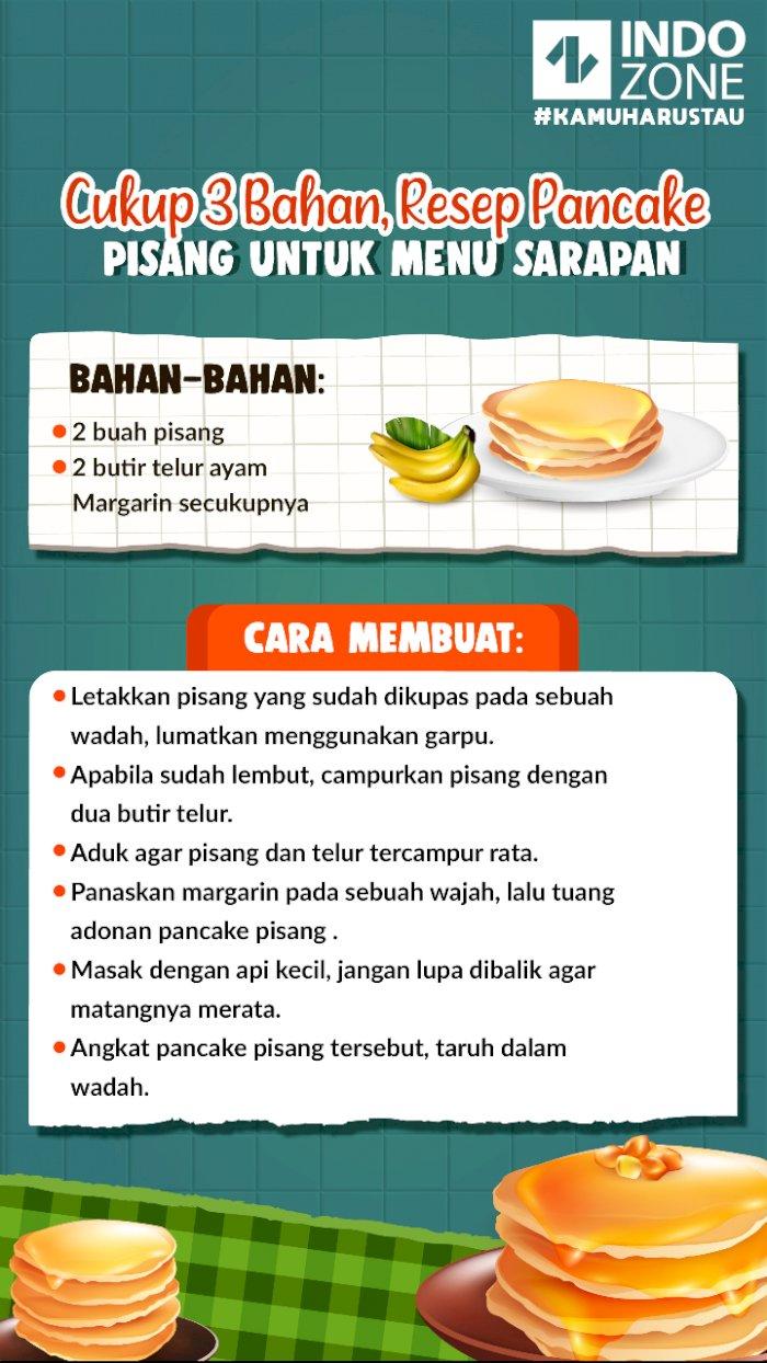 Cukup 3 Bahan, Resep Pancake Pisang untuk Menu Sarapan