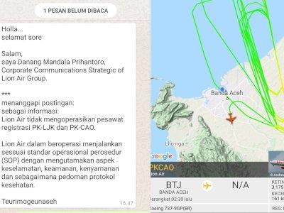 Heboh Pesawat Lion Air Terbang Rendah Selama 1 Jam di Udara Aceh, Begini Fakta Lengkapnya