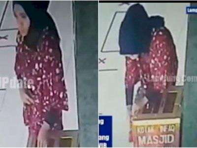Viral Video Wanita Berjilbab Curi Uang di Masjid, Kepala Masuk ke Dalam Kotak Amal