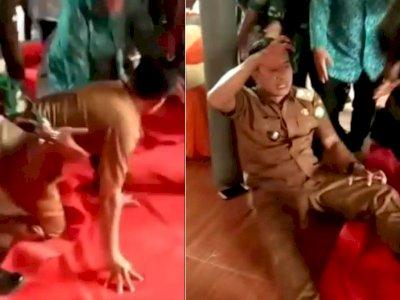 Viral Video Kades Gantar Kesurupan Coba Raih Keris Kujang Penari, Istri Teriak Histeris