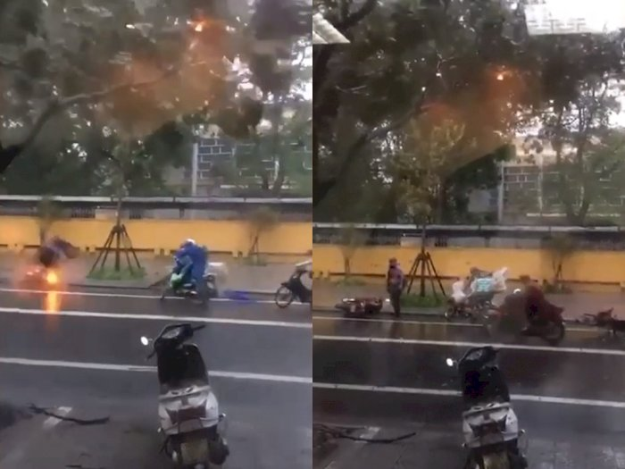 Video Dahsyatnya Angin Topan Noul di Vietnam, Bikin Pengendara Motor Terjatuh