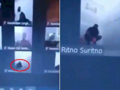 Video Pria Sedang Buang Air Besar saat Rapat Online, Lupa Matikan Kamera, Buru-buru Cebok