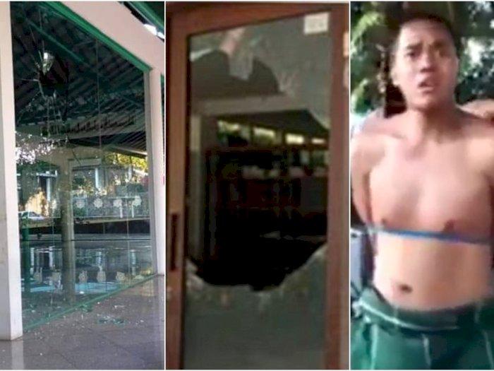 Pria Ini Rusak Masjid di Bandung, Kaca Berpecahan, Ngaku Anak Preman, Ancam Bunuh Pengurus