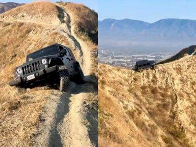 Waduh, Mobil Jeep Wrangler Ini Terjebak di Antara Jurang di California!