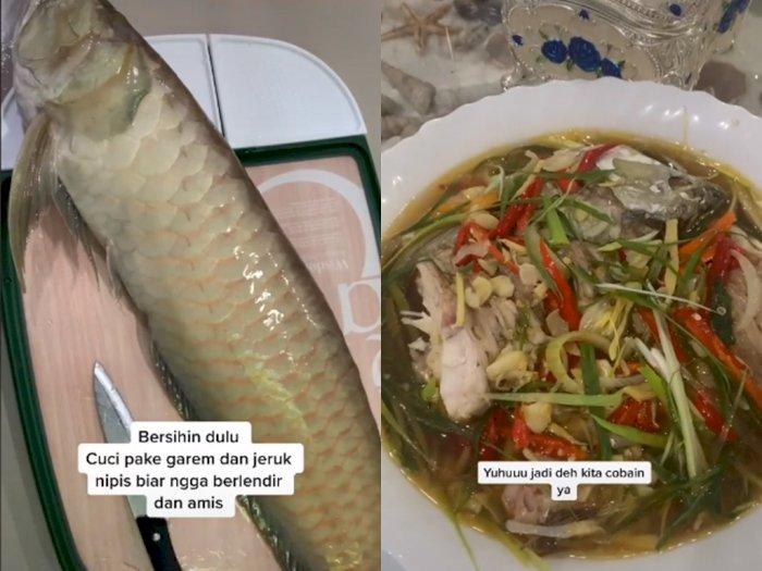 Viral Video Cewek yang Masak Steam Ikan Arwana, Bikin Netizen Melongo