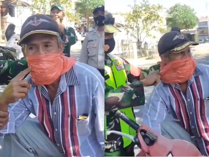 Gak Punya Masker, Bapak ini Tutup Mulut Pakai Plastik, Netizen: Kok Malah Diketawain?